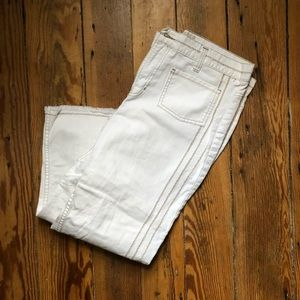 Faded Glory white jeans with tan sticking size 12
